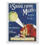 Vintage Sheet Music Signal From Mars Poster