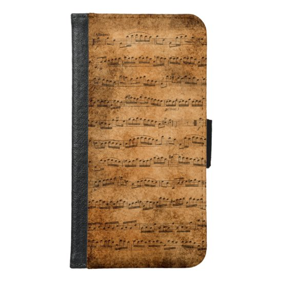 Vintage sheet music wallet phone case for samsung galaxy s6