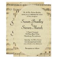 Vintage Sheet Music Wedding Invitation