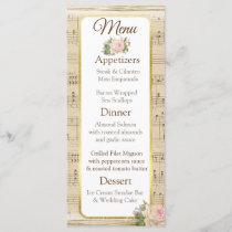 Vintage Sheet Music Wedding Menu Card