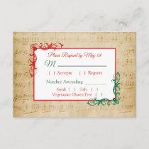 Vintage Sheet Music Winter Wedding RSVP card