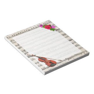 Vintage Sheet Music with Violin and Roses Notepad