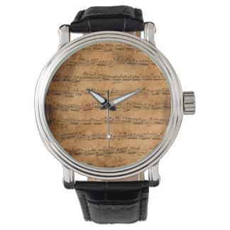 Vintage sheet music wrist watch
