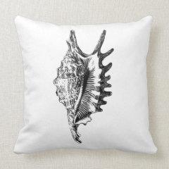 Vintage Shell Illustration Pillows
