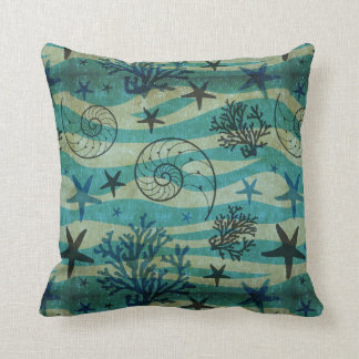 Vintage Shells And Starfish Pattern Throw Pillow