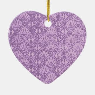 Vintage Shells Lavender Purple Heart Ornament