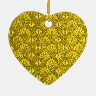 Vintage Shells Yellow Heart Ornament