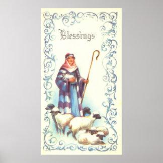 Vintage Shepherd and Sheep Print
