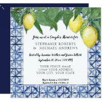 Vintage Shibori Indigo Blue w Lemon Couples Shower Invitation