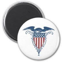 Patriotic Eagle US American Flag Shield Button Refrigerator Magnet