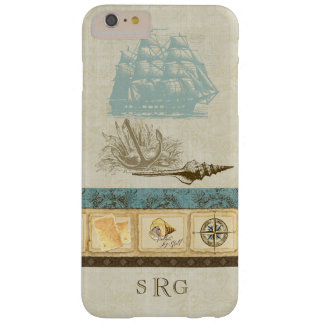 Vintage Ship Anchor Map Compass Rose n Shells Mens Barely There iPhone 6 Plus Case
