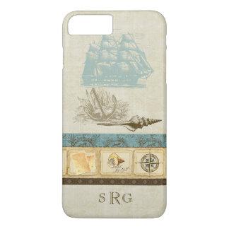 Vintage Ship Anchor Map Compass Rose n Shells Mens iPhone 8 Plus/7 Plus Case