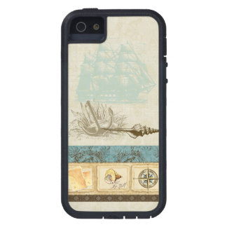 Vintage Ship Anchor Map Compass Rose n Shells Mens iPhone SE/5/5s Case