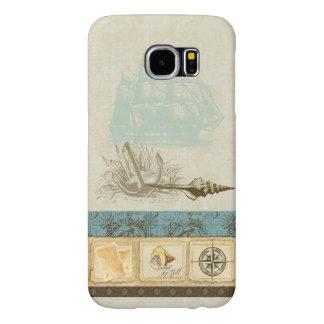 Vintage Ship Anchor Map Compass Rose n Shells Mens Samsung Galaxy S6 Case