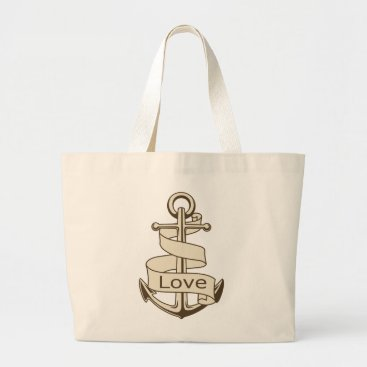 Beach Themed Vintage Ship Anchor Nautical Love Large Tote Bag