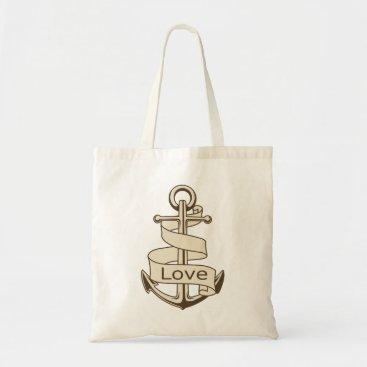 Beach Themed Vintage Ship Anchor Nautical Love Tote Bag