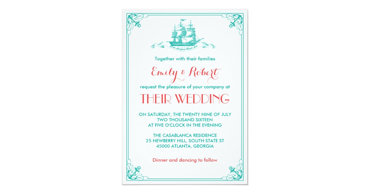 Coral And Teal Wedding Invitations: Vintage Ship Anchor Wedding Invitation Teal Coral