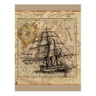 Vintage Ship And Map Postcard