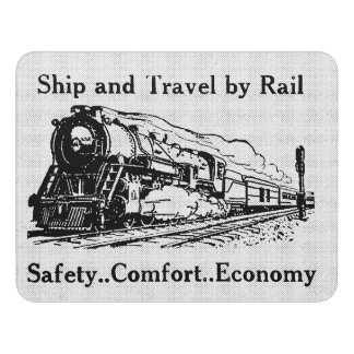 Vintage Ship and Travel By Rail Door Sign