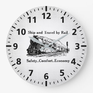 Vintage Ship and Travel By Rail Large Clock