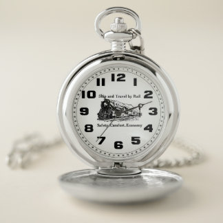 Vintage Ship and Travel By Rail Pocket Watch