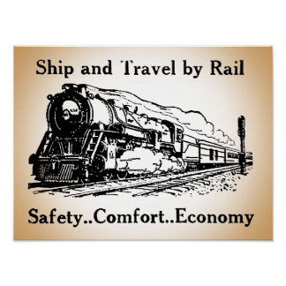 Vintage Ship and Travel By Rail Poster