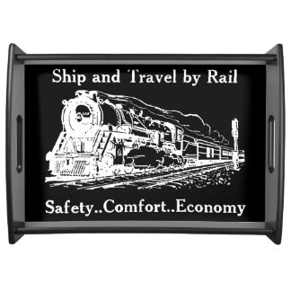 Vintage Ship and Travel By Rail Serving Tray