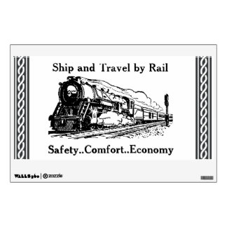 Vintage Ship and Travel By Rail Wall Sticker