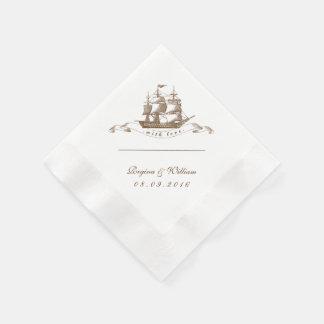 Vintage Ship Art Paper Napkin for Wedding