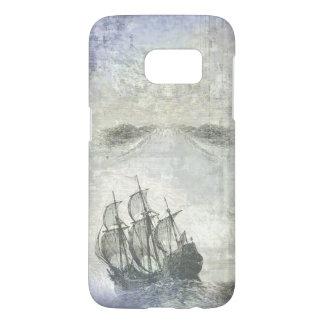 Vintage Ship Gray White Ocean Nautical Sea Samsung Galaxy S7 Case