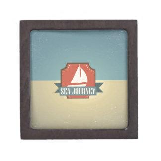 Vintage Ship Image. Sea Journey Message Premium Gift Boxes