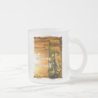 vintage ship inspirational motivational travel frosted glass coffee mug