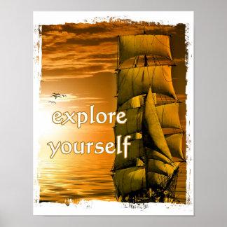 vintage ship inspirational motivational travel poster