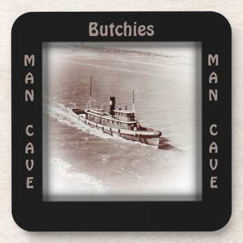 Vintage Ship Man Cave CUSTOMIZE Coaster