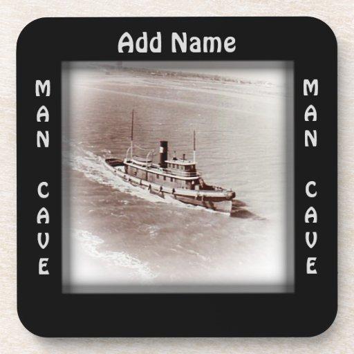 Man Cave Coasters : Vintage ship man cave drink coaster zazzle
