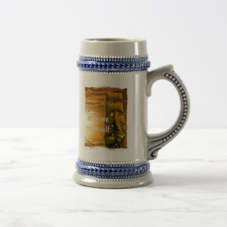 vintage ship motivational quote explore yourself beer stein