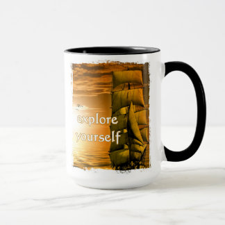 vintage ship motivational quote explore yourself mug