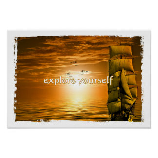 vintage ship motivational quote explore yourself poster