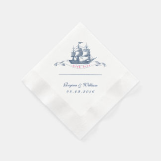 Vintage Ship Navy Blue and White Cocktail Napkin