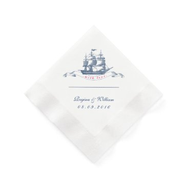 Beach Themed Vintage Ship Navy Blue and White Cocktail Napkin