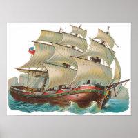 Vintage Ship Sail Across Blue Sea Art Print Poster