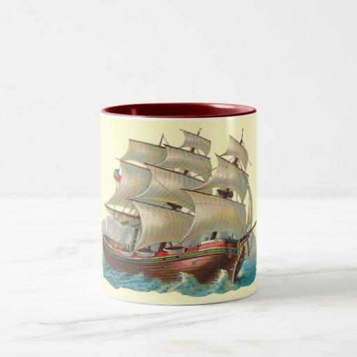Vintage Ship Sail Across Blue Sea Coffee Cup Mug
