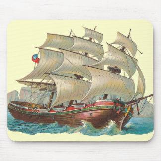 Vintage Ship Sail Across the Blue Sea Fun Mousepad