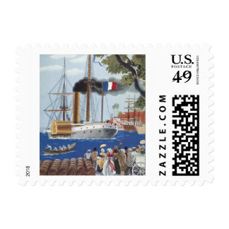 Vintage Ship Sail Cargo French Port Harbor Brandy Stamps