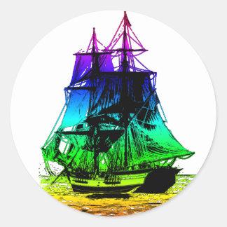 Vintage Ship Round Sticker