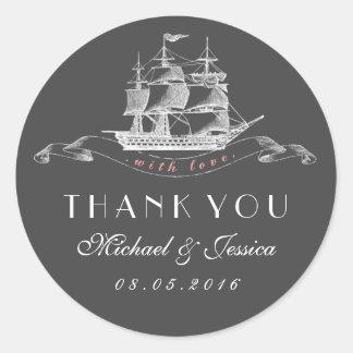 Vintage Ship Wedding Thank You Sticker Pink Grey