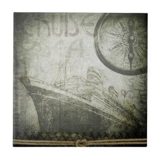 Vintage Ship Wind Rose Art Ceramic Tile