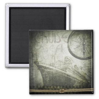 Vintage Ship Wind Rose Art Magnet