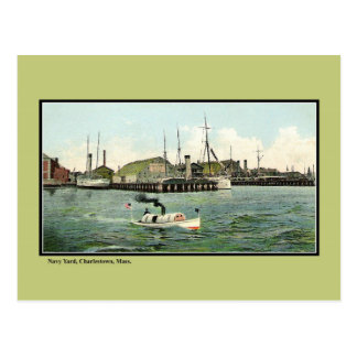 Vintage Ship Yard Charlestown MA Postcard