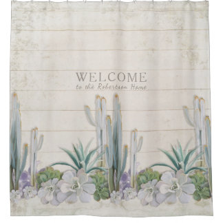 Vintage Shiplap Wood Desert Cactus Succulent West Shower Curtain